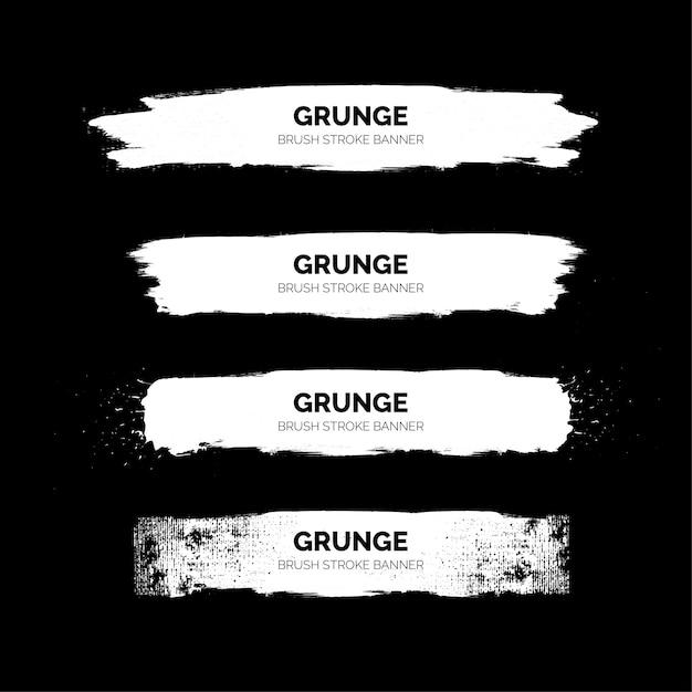Banners de trazo de pincel blanco grunge vector gratuito