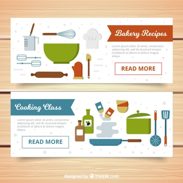 Banners de utensilios de cocina en diseño plano   Descargar Vectores ...