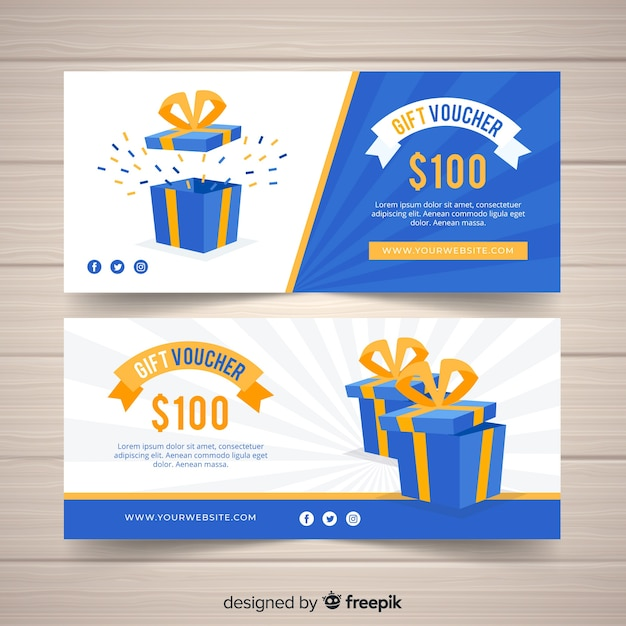 Banners de vales de regalo modernos vector gratuito