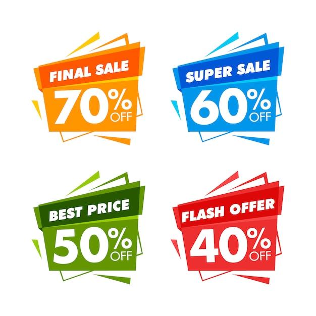 Banners de venta de colores Vector Premium