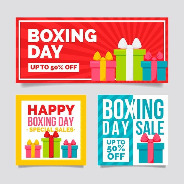 Banners de venta de día de boxeo plano vector gratuito