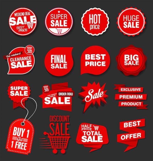 Banners de venta modernos y colección de etiquetas Vector Premium