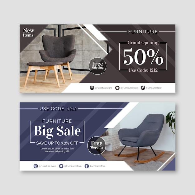 Banners de venta de muebles con descuento. vector gratuito