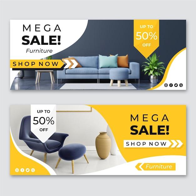 Banners de venta de muebles con foto. Vector Premium