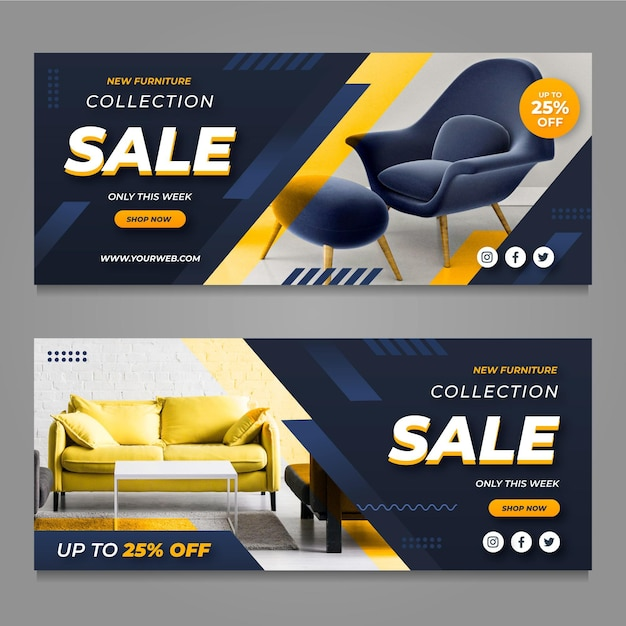 Banners de venta de muebles con foto. vector gratuito