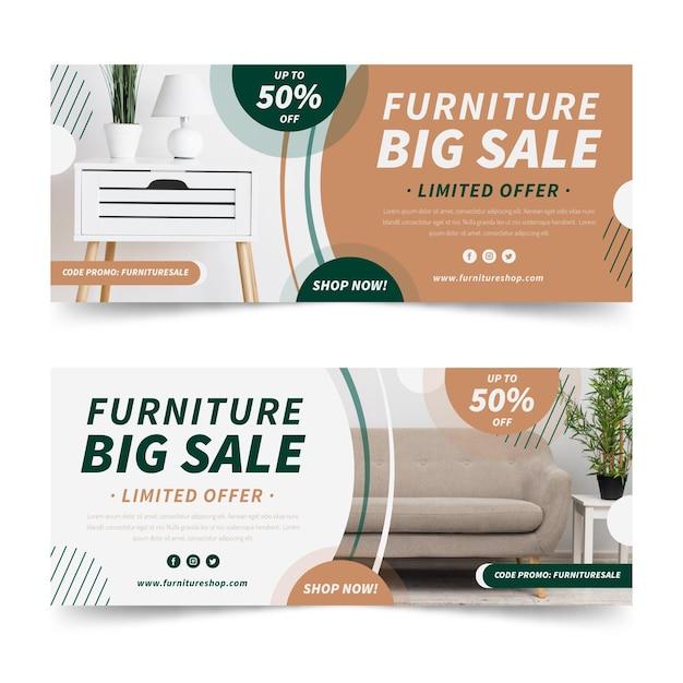Banners de venta de muebles Vector Premium
