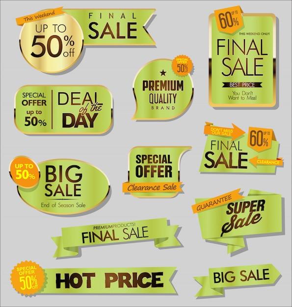Banners de venta de oro Vector Premium