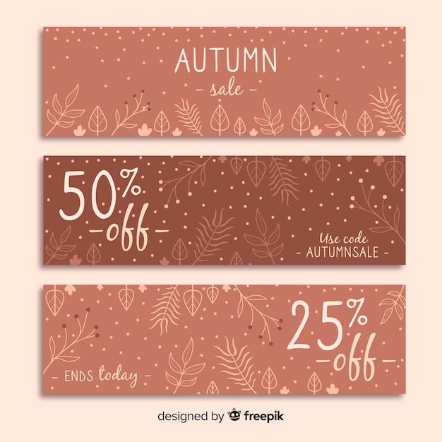 Banners de venta otoño dibujados a mano vector gratuito