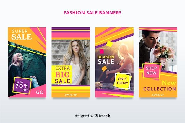Banners de venta de ropa vector gratuito