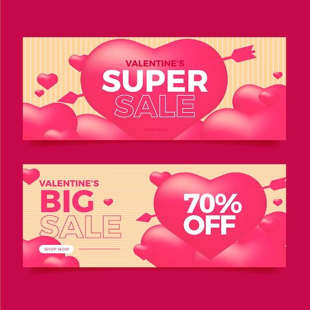 Banners de venta de san valentín en diseño plano vector gratuito