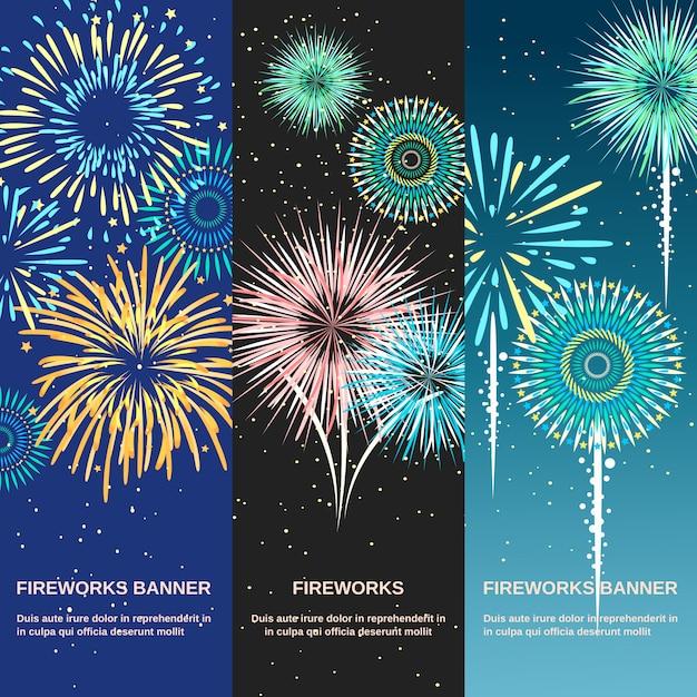 Banners verticales abstractos de fuegos artificiales festivos vector gratuito