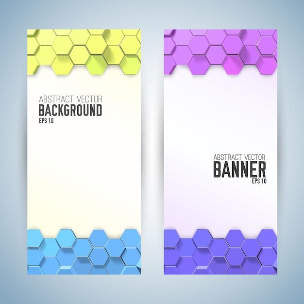 Banners verticales abstractos con hexágonos de colores vector gratuito