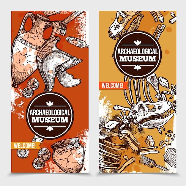 Banners verticales de arqueología dibujados a mano vector gratuito