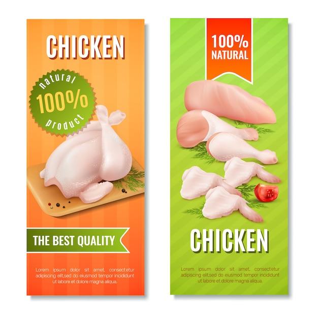 Banners verticales de carne de pollo vector gratuito