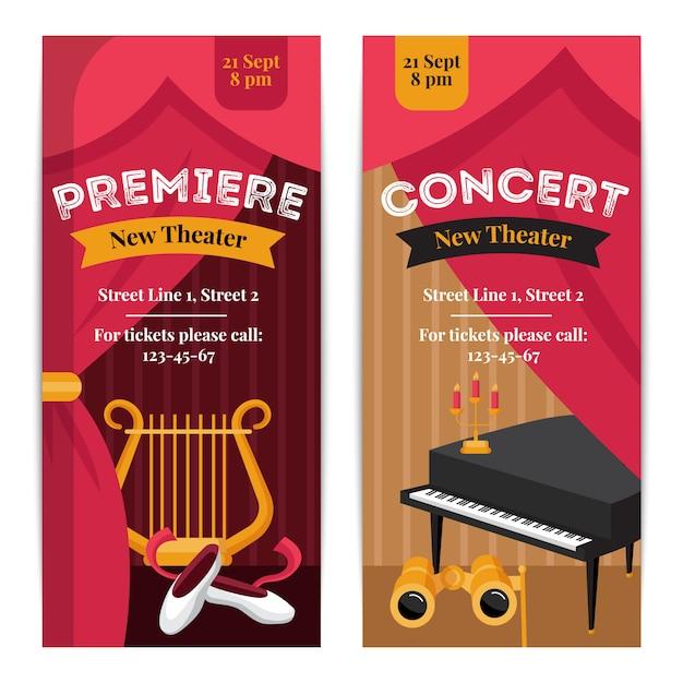 Banners verticales de cartel de teatro con símbolos de concierto vector gratuito