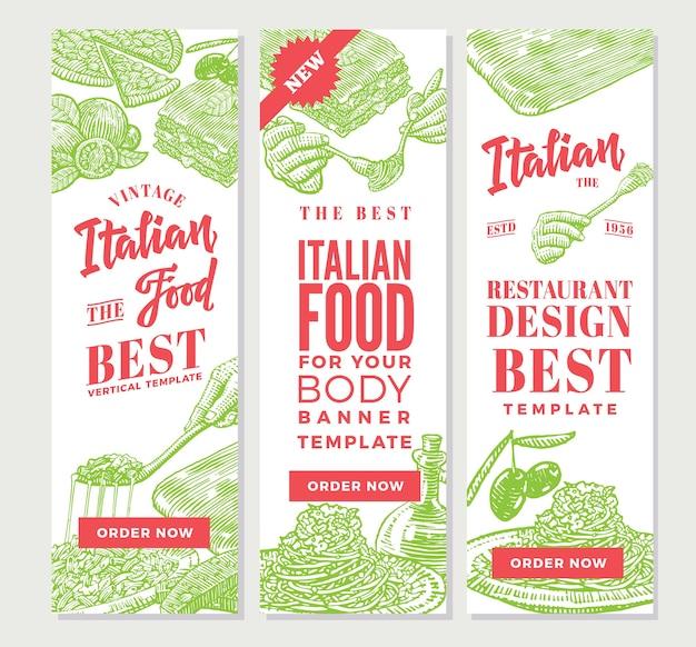 Banners verticales de comida italiana vintage vector gratuito