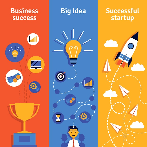 Banners verticales de concepto de negocio vector gratuito