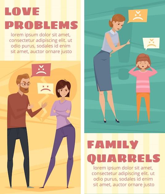 Banners verticales de conflicto con la discusión de amor pareja y madre vector gratuito