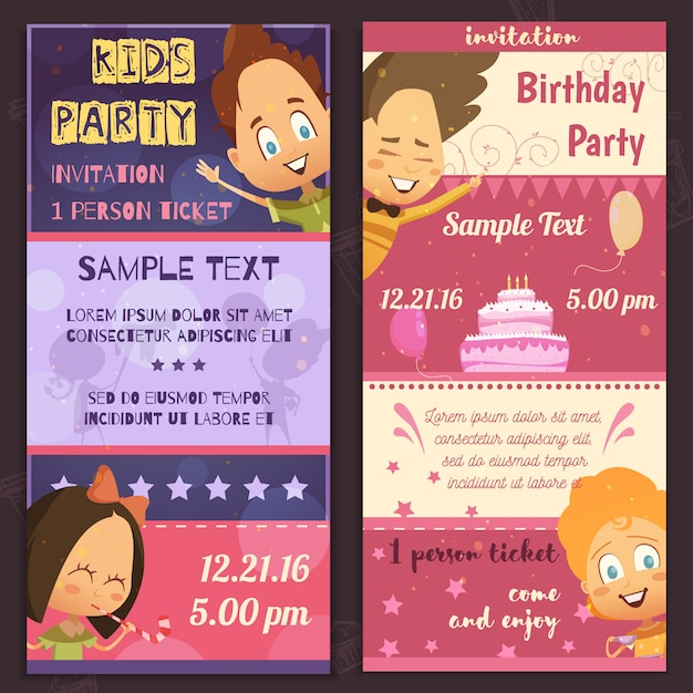 Banners verticales de diseño de invitación de fiesta de niños vector gratuito