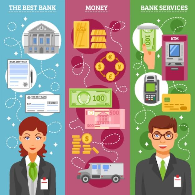 Banners verticales para empleados del banco vector gratuito