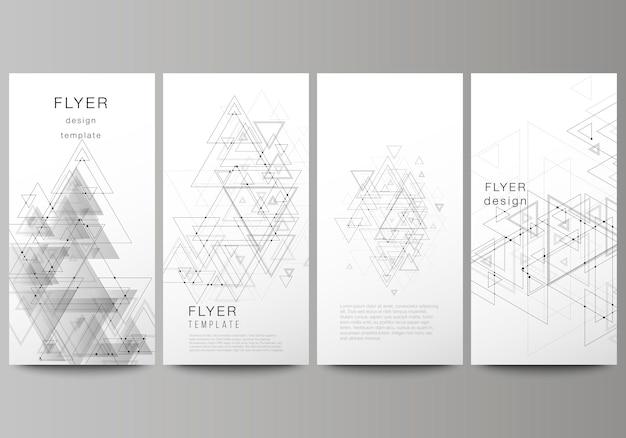Banners verticales, folletos de diseño de plantillas comerciales. Vector Premium