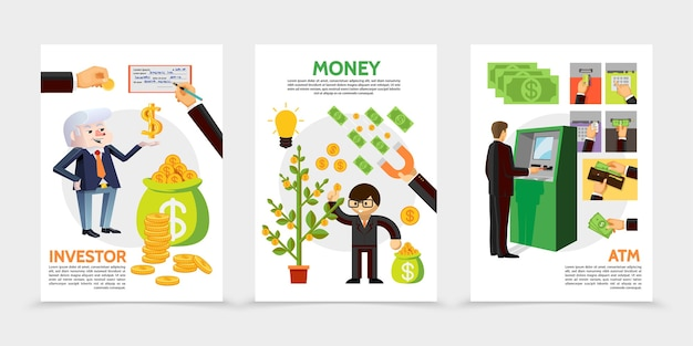 Banners verticales de inversión y finanzas planas con empresario cerca de cajeros automáticos cheque financiero imán monedas árbol de dinero iconos en efectivo ilustración vector gratuito