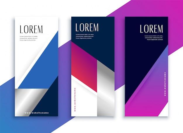Banners verticales modernos de estilo empresarial vibrante geométrico vector gratuito