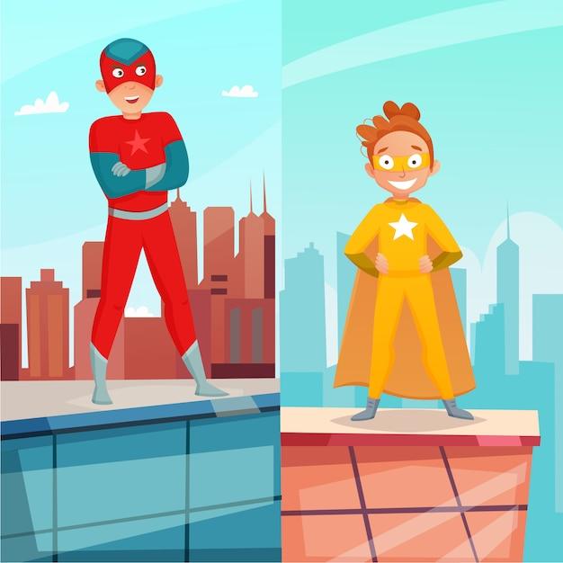 Banners verticales de niños superhéroes vector gratuito