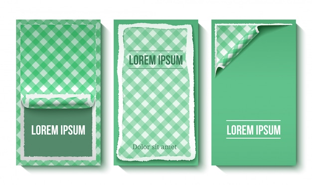Banners verticales de papel rasgado colorido vector gratuito