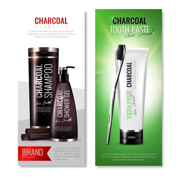 Banners verticales de pasta de dientes de carbón vector gratuito