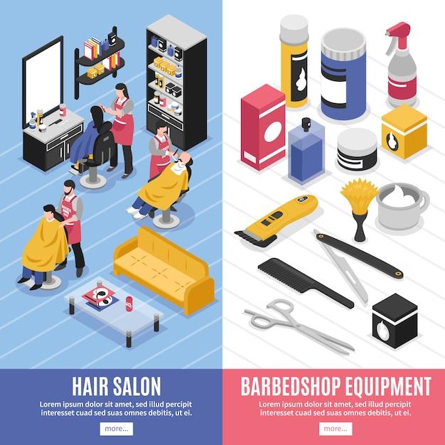 Banners verticales de peluquería vector gratuito
