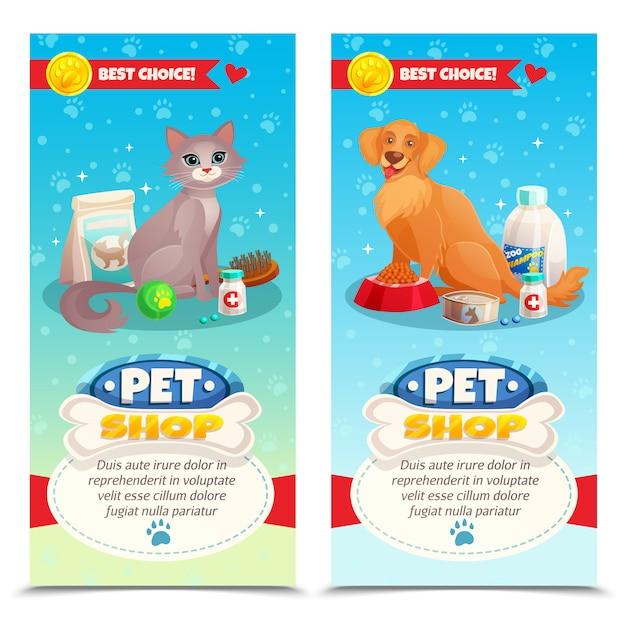 Banners verticales de tienda de mascotas vector gratuito