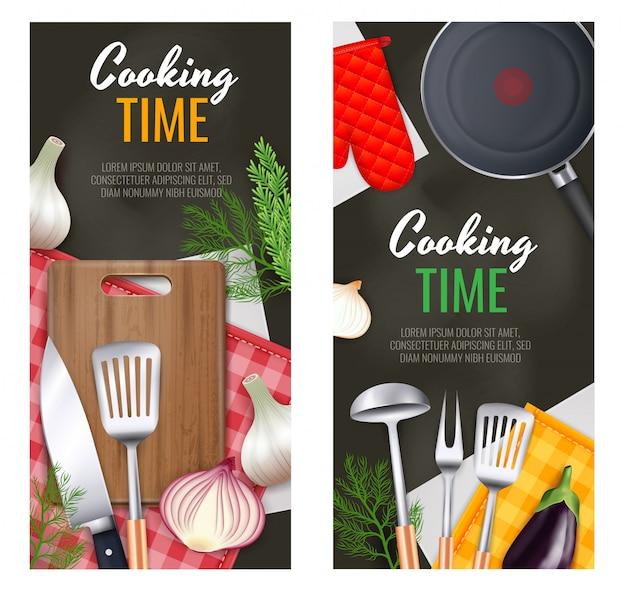 Banners verticales de utensilios de cocina con símbolos de tiempo de cocción realistas aislados vector gratuito