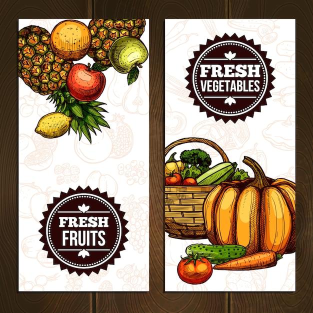 Banners verticales de verduras y frutas vector gratuito