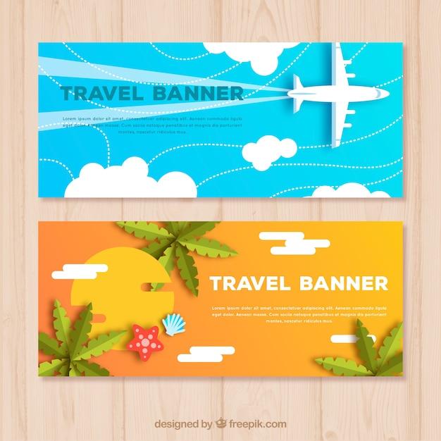 Banners de viaje en estilo plano vector gratuito
