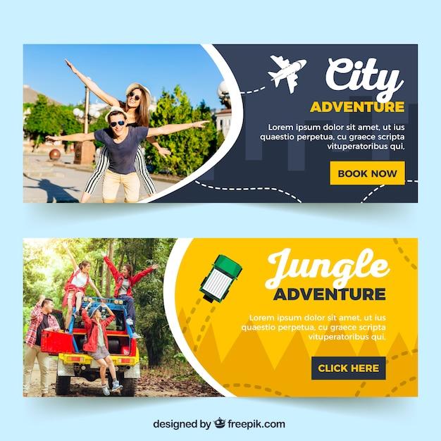 Banners de viaje con fotografía vector gratuito