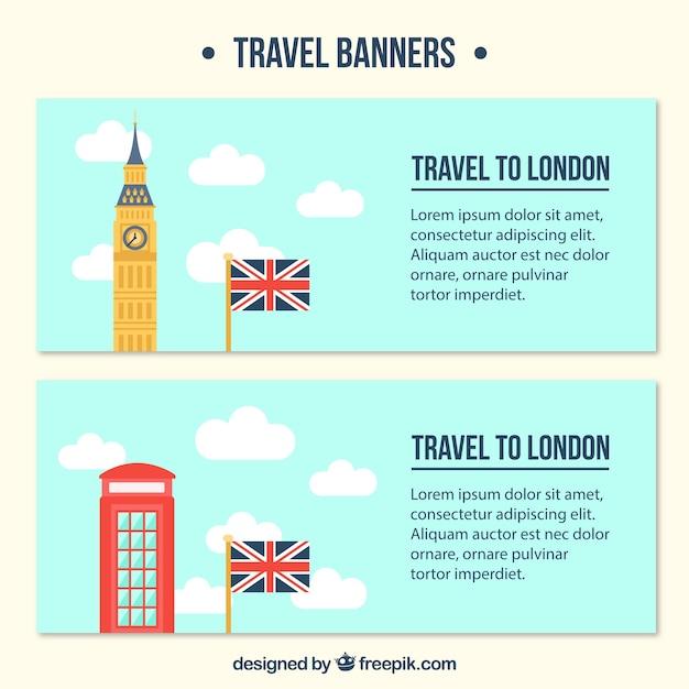 Banners de viaje de londres en diseño plano vector gratuito