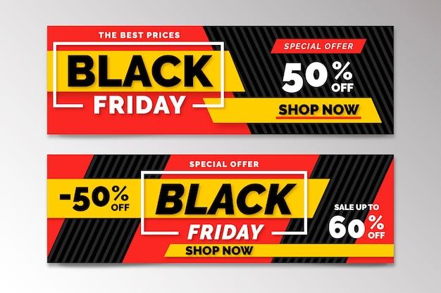 Banners de viernes negro dibujados a mano vector gratuito