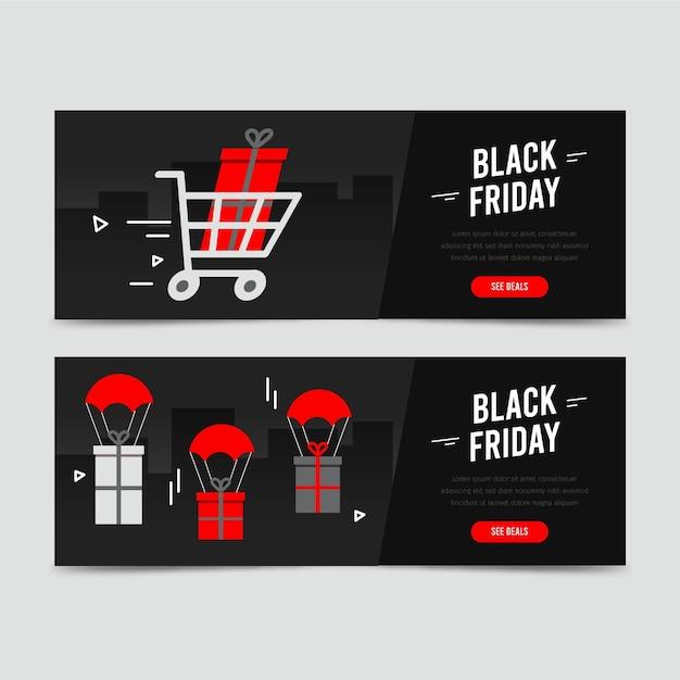 Banners de viernes negro dibujados a mano Vector Premium
