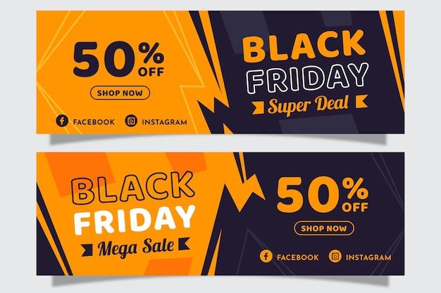 Banners de viernes negro en diseño plano vector gratuito