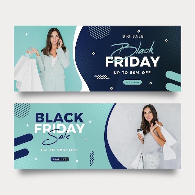 Banners de viernes negro con foto en diseño plano vector gratuito