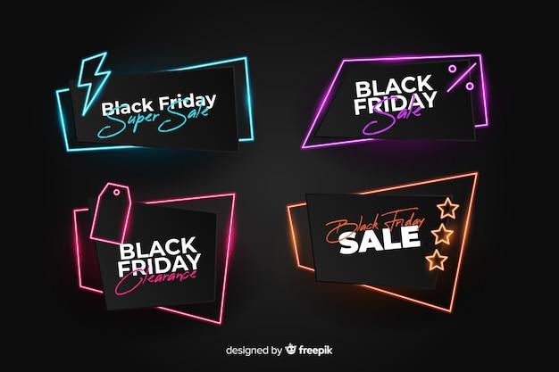 Banners de viernes negro de neón vector gratuito