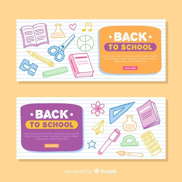 Banners de la vuelta al cole dibujados vector gratuito