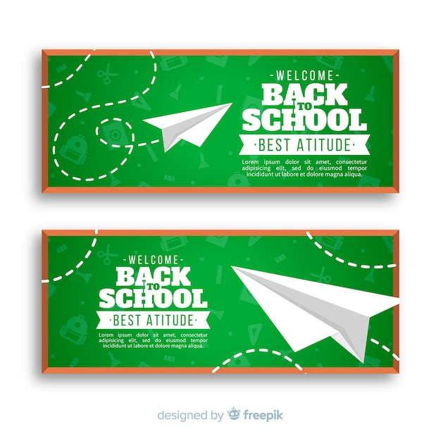 Banners de la vuelta al cole vector gratuito