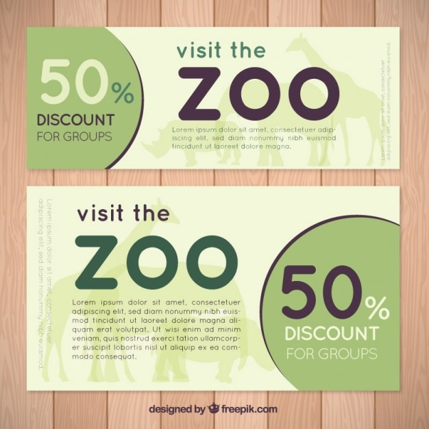 Banners de zoo sencillos de descuento vector gratuito
