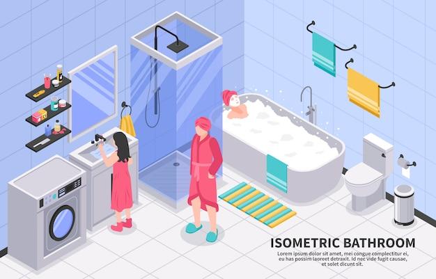 Baño familiar isométrico vector gratuito