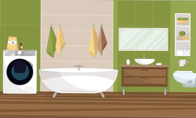 Lavadora Con Lavabo.Bano Interior En Un Diseno De Estilo Moderno Con Un Azulejo