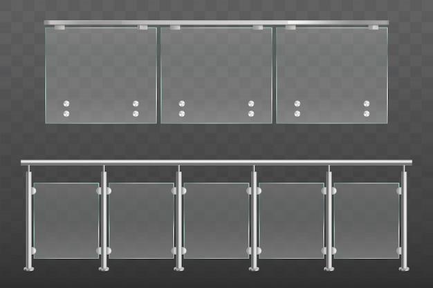 Barandilla de vidrio con pasamanos metálicos conjunto aislado vector gratuito