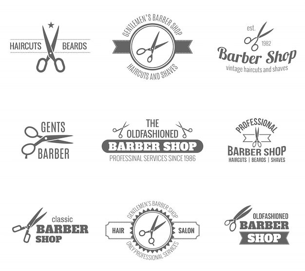 Barber label black vector gratuito