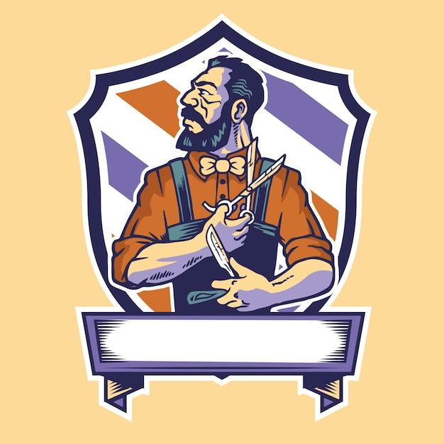 Barber lleva tijeras y el logotipo de la mascota de la maquinilla de afeitar Vector Premium
